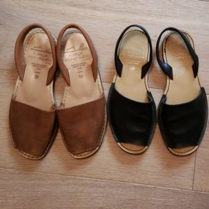 2 pairs Avarca Menorquina black brown 38